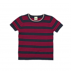 FUB Strickpullover kurzarm - navy red