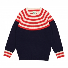 FUB Woll Strickpullover - navy red ecru