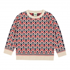 FUB Woll Strickpullover Muster - ecru red navy