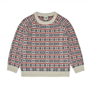 FUB Woll Pullover Jaquard - ecru petrol red