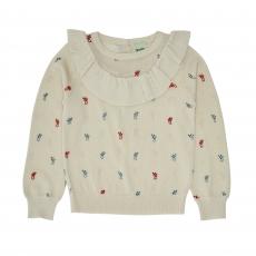 FUB Woll Pullover mit Rüschen - ecru