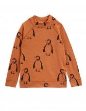 MINI RODINI Langarmshirt Wolle Penguin - brown