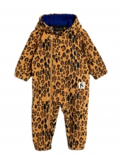 MINI RODINI Fleece Onesie Leopard - beige